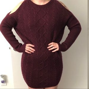 Express Burgundy Sweater Dress
